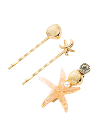Fashion Light Yellow Starfish Hairpin Three-piece