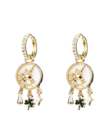 Fashion Gold Unicorn With Emerald Lucky Grass Earrings