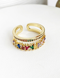 Fashion Gold Color Multi-layer Design Opening Ring