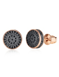 Fashion Rose Gold Full Diamond Round Earrings