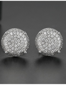 Fashion White Zirconium White Gold Pave Round Earrings