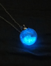 Fashion Ball + 4 Dandelions + Blue And Green Luminous Dandelion Glass Ball Luminous Sand Necklace