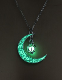Fashion Yellow Green Hollow Spiral Moon Luminous Necklace