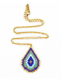 Fashion Blue Rice Beads Woven Eye Necklace