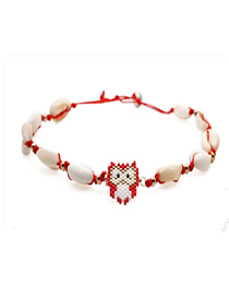 Fashion Red Rice Beads Woven Shell Owl Necklace