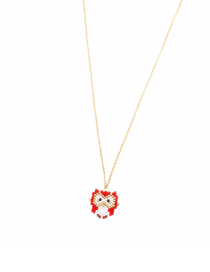 Fashion Red Cartoon Version Of Owl Rice Beads Woven Necklace