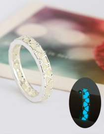 Fashion Blue And Green Luminous Luminous Water Cube Plated 925 Silver Enamel Hollow Ring