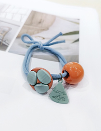 Fashion Orange Crystal Bead Letter Tag Hair Ring Korean Candy Color Ball Head Rope