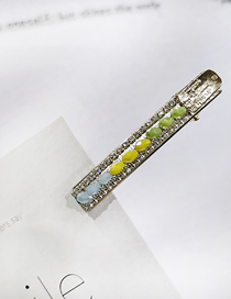 Fashion Green Yellow Orchid Color Matching Rhinestone Rice Beads Chain Duckbill Clip Rhinestone Rice Bead Chain Hairpin Liu Seaside Clip
