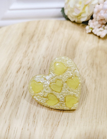 Fashion Yellow Love Duckbill Clip Acetate Candy Acrylic Hair Clip