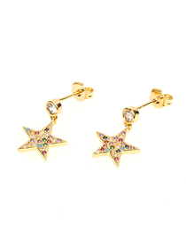 Fashion Gold Color Pentagram Micro-inlaid Colored Zircon Earrings