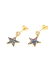 Fashion Black Color Pentagram Micro-inlaid Colored Zircon Earrings