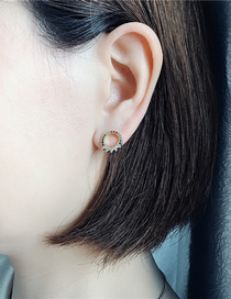 Fashion Gold Micro-inlaid Zircon Hollow Circle Ear