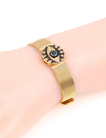 Fashion Gold Diamond Long Eyelash Eye Stainless Steel Mesh Strap Bracelet