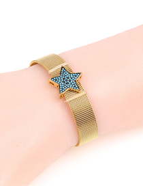 Fashion Blue Micro-inlaid Diamond Five-pointed Star Stainless Steel Mesh Strap Bracelet