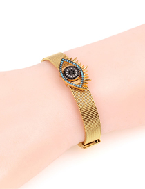Fashion Gold Stainless Steel Mesh Strap With Long Eyelashes And Diamond Eye Bracelet