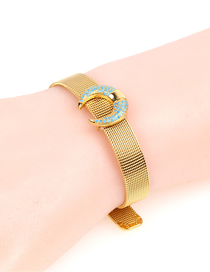 Fashion Gold Stainless Steel Mesh Strap Horns Buds Inlaid Zircon Bracelet