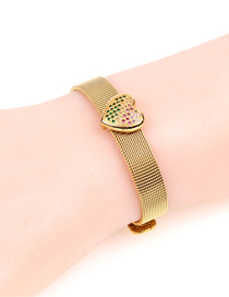 Fashion Gold Diamond Love Stainless Steel Strap Bracelet