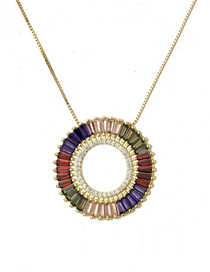 Fashion Gold Round Hollow Inlaid Colored Zircon Copper Plated Gold Necklace