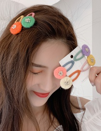 Fashion Green + Orange (pair Of Clips) Winding Color Matching Clip