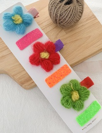 Fashion Dark Color (set Of 3 Pairs) Wool Flower Duckbill Clip Set