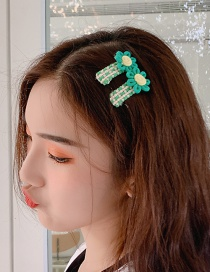 Fashion Green Folder Flower Fabric Hair Clip
