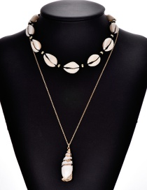 Fashion Gold Alloy Shell Conch Necklace Set Of 2
