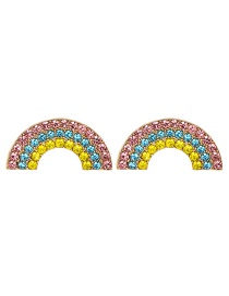 Fashion Blue + Yellow Alloy-encrusted Fan-shaped Earrings