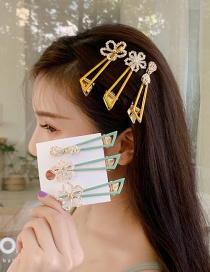 Fashion Yellow Flower Drop Oil Hollow Geometric Hair Clip