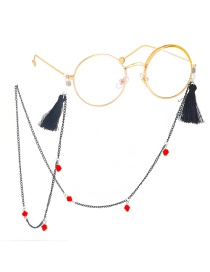 Fashion Black Metal Fringed Crystal Glasses Chain