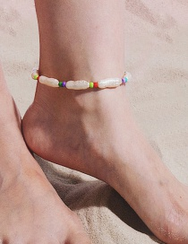 Fashion Color Mizhu Geometric Shaped Pearl Elastic Anklet
