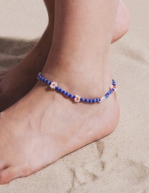 Fashion Blue Anklet Beaded Rice Beads Woven Flower Geometric Necklace