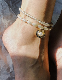 Fashion White Multi-layer Beaded Pearl Geometric Shell Anklet