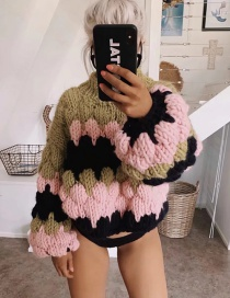 Fashion Pink Greenish Coarse Wool Sweater