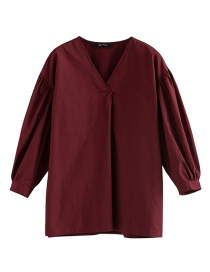 Fashion Red Wine Cotton V-neck Wide-sleeved Top