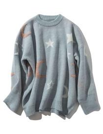 Fashion Blue Star Moon Pullover