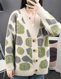 Fashion Green Letter Printed Knit Cardigan