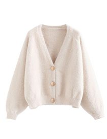 Fashion Creamy-white Button Imitation Mane Cardigan