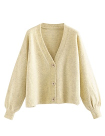 Fashion Light Yellow Button Variegated Cardigan