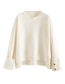 Fashion White Split Hem Round Neck Pullover