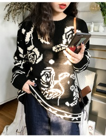 Fashion Black Flower Knit Sweater
