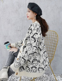 Fashion White Avatar Print Button Cardigan