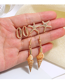 Fashion Gold Alloy Conch Starfish Stud Earrings Set