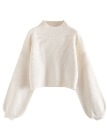 Fashion White Small High-necked Sleeved Sweater With Velvet Short