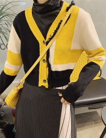 Fashion Yellow Colorblocked Knit Sweater