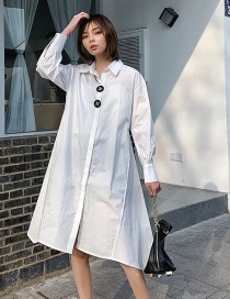 Fashion White Stitching Shirt Skirt