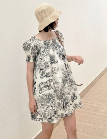 Fashion Black One-shoulder Ink Painting Dress