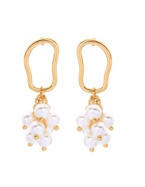 Fashion Gold S925 Sterling Silver Openwork Geometric Pearl Earrings