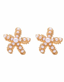 Fashion Golden Short S925 Silver Needle Pearl Starfish Earrings
