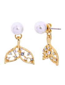 Fashion Golden Short Diamond Fishtail Transparent Glass Ball Stud Earrings